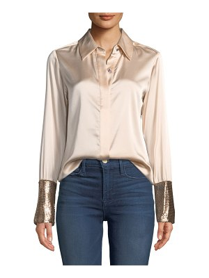 Ramy Brook Talia Silk Button-Down Top with Metallic Cuffs