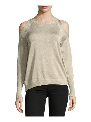 RAMY BROOK Tasha Cold-Shoulder Metallic Sweater
