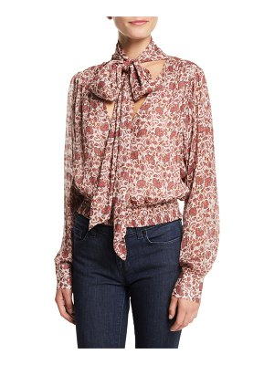 Ramy Brook Winslow Printed Tie-Neck Blouson Top