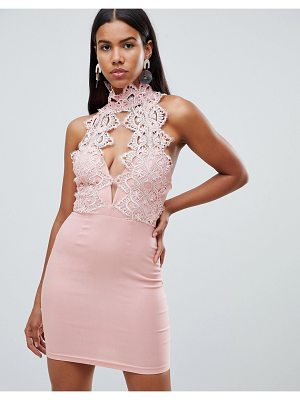 Rare London high neck plunge lace mini dress