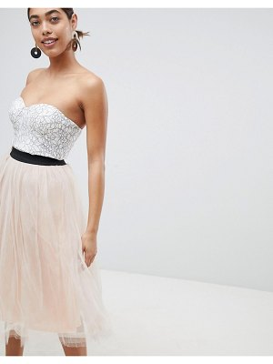 Rare london lace prom midi dress with tulle skirt