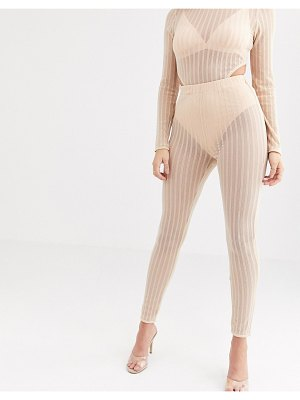 Rare london sheer ribbed legging with underwear in beige