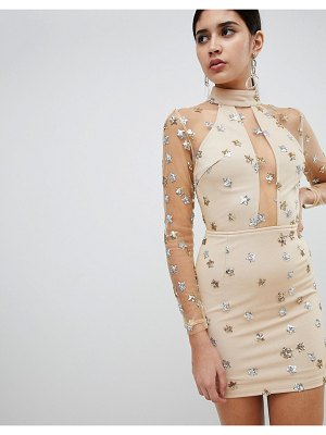 Rare London mesh and sequin star mini dress