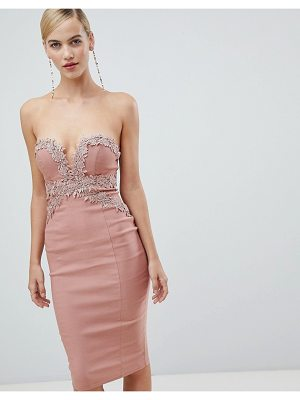 Rare London strapless crochet midi dress