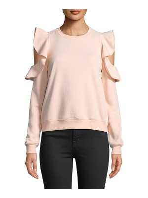 REBECCA MINKOFF Gracie Crewneck Cold-Shoulder Cotton Sweatshirt