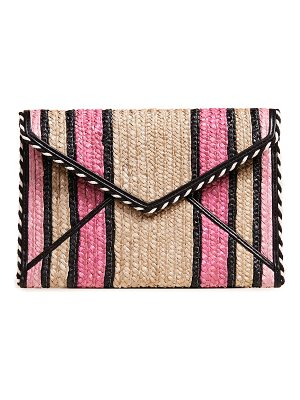 Rebecca Minkoff Straw Leo striped clutch bag rJot8
