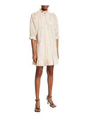Rebecca Taylor Adela Floral Voile Ruffle Dress