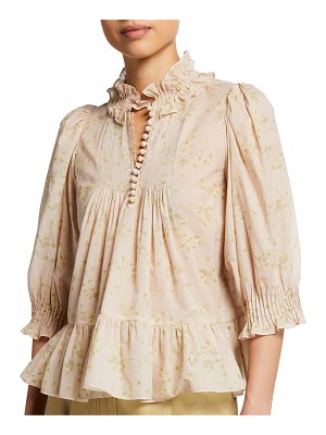 Rebecca Taylor Adela Voile Floral-Print Ruffle Blouse