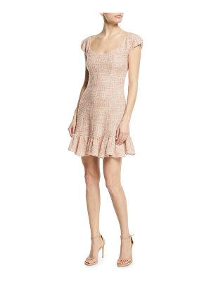 Rebecca Taylor Cap-Sleeve Tweed Flounce Dress