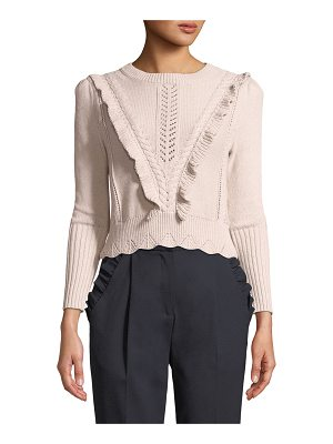 REBECCA TAYLOR Crewneck Ruffled Cable-Knit Crop Pullover Sweater