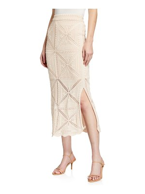 Rebecca Taylor Crochet Pencil Midi Skirt