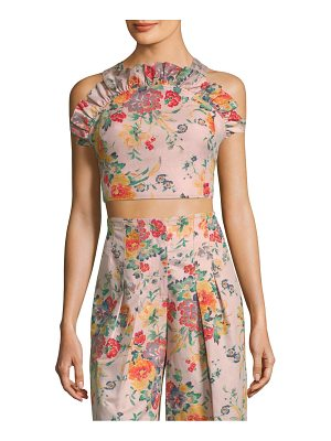 REBECCA TAYLOR Marlena Floral Ruffled Cropped Top