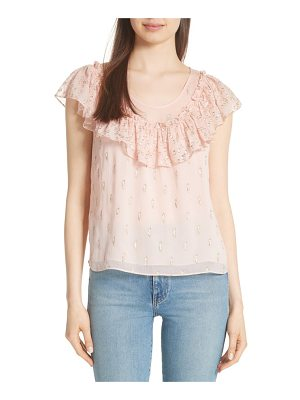 Rebecca Taylor metallic fille coupe ruffle silk top