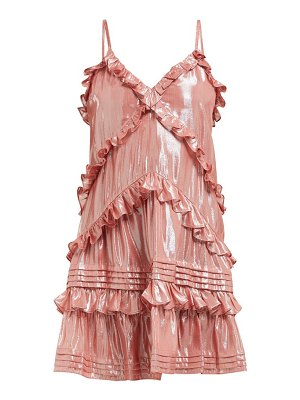 Rebecca Taylor ruffled silk blend lamé mini dress