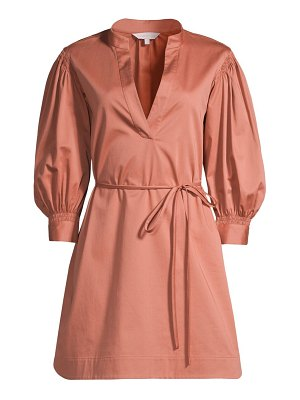 Rebecca Taylor sateen twill puff-sleeve mini dress