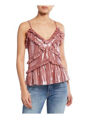 Rebecca Taylor Sleeveless Metallic Ruffle Cami