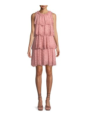 REBECCA TAYLOR Tiered Sleeveless Pinwheel Eyelet Dress