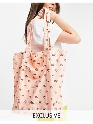 Reclaimed Vintage inspired canvas tote bag in all over pink monogram