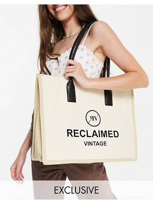 Reclaimed Vintage inspired canvas tote bag with logo-brown