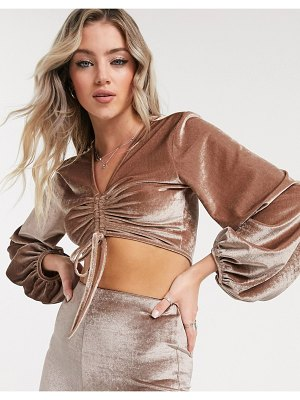 Reclaimed Vintage inspired crushed velvet crop top with blouson sleeve and ruched detail-beige
