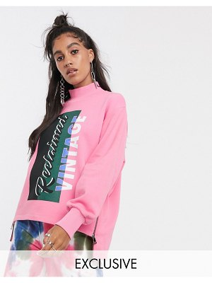 Reclaimed Vintage inspired high neck sweat with zip side detail and logo print-pink