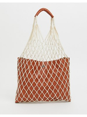 Reclaimed Vintage inspired net shopper with pu inner and handle