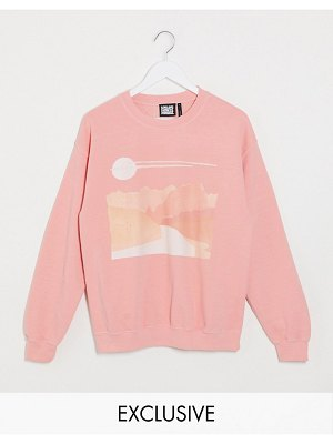 Reclaimed Vintage inspired overdye sunsape print sweat in pink