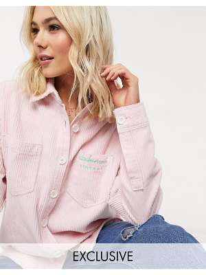 Reclaimed Vintage inspired oversized shirt in pink cord with logo embroidery
