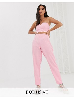 Reclaimed Vintage inspired pants in boucle two-piece-pink