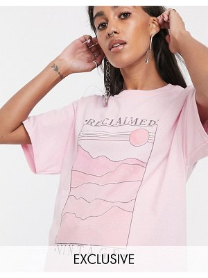 Reclaimed Vintage inspired sun scape t-shirt-pink