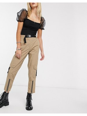 Reclaimed Vintage inspired utility pants with buckle detail in biscuit-beige