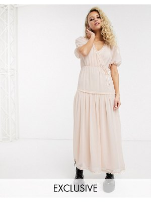 Reclaimed Vintage inspired wrap maxi dress with embroidery detail-pink