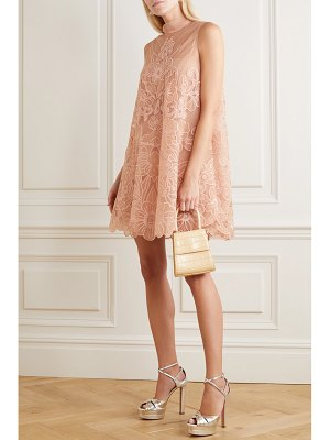 Red Valentino aline embroidered point d'esprit tulle mini dress