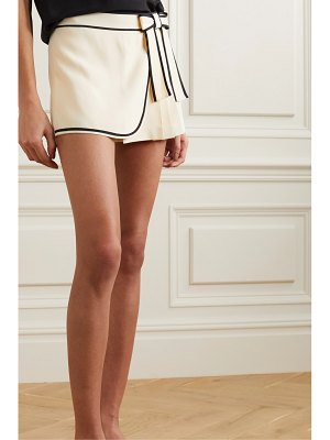 Red Valentino bow-detailed pleated crepe shorts