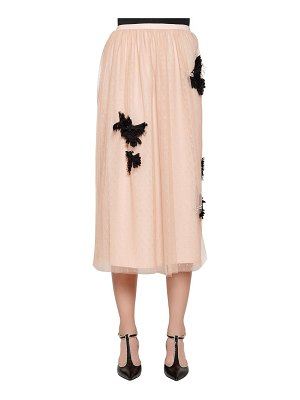 Red Valentino Embellished swiss dot lace midi skirt