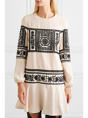 Red Valentino embroidered crepe mini dress