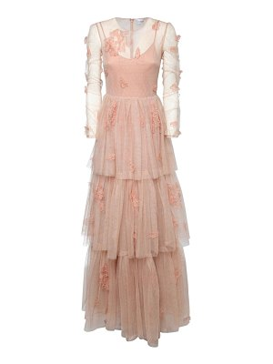 Red Valentino Embroidered tulle long dress