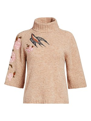 Red Valentino floral embroidered turtleneck sweater