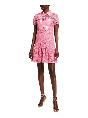 Red Valentino Floral Macrame Collared Short Dress