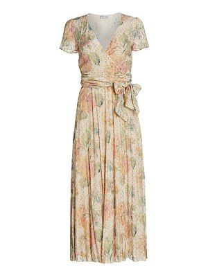 Red Valentino floral metallic dotted wrap midi dress