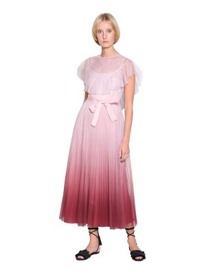 Red Valentino Gradient plated tulle midi dress