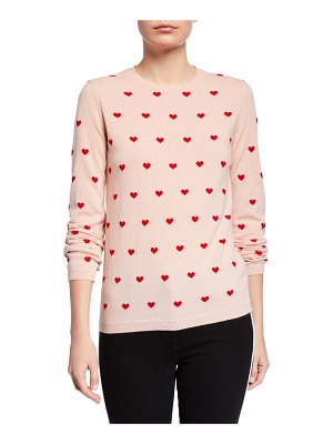 Red Valentino Heart Print Long-Sleeve Sweater