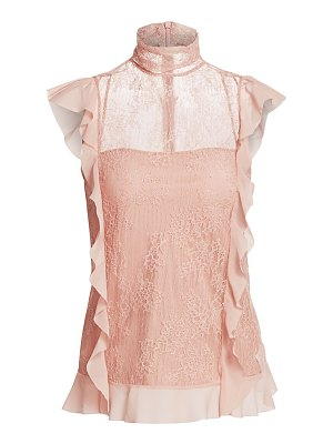 Red Valentino high-neck ruffle lace blouse