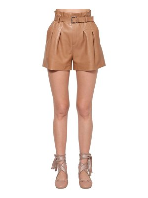 Red Valentino High waist belted leather shorts