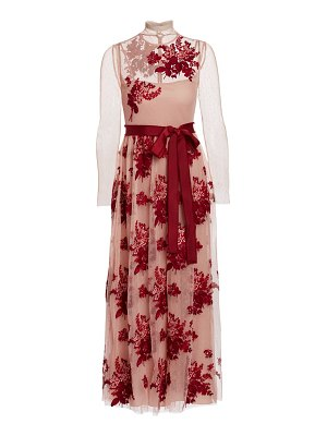 Red Valentino illusion floral applique midi dress
