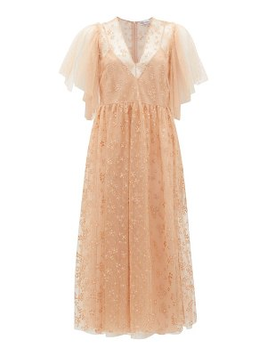 Red Valentino painted-flower tulle midi dress