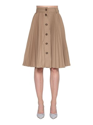 Red Valentino Pleated canvas midi skirt