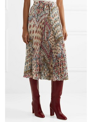 Red Valentino pleated floral-print crepe midi skirt