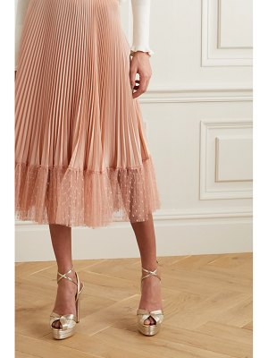 Red Valentino pleated point d'esprit tulle-trimmed satin midi skirt