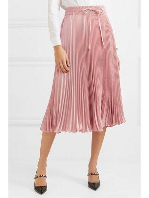 Red Valentino pleated satin midi skirt